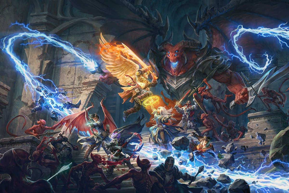 Pathfinder: Wrath of the Righteous key art - many characters battle a large monster